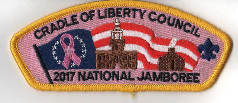 2017 National Scout Jamboree Cradle of Liberty JSP Flag Pink Bkground [C3182] - Scout Patch HQ