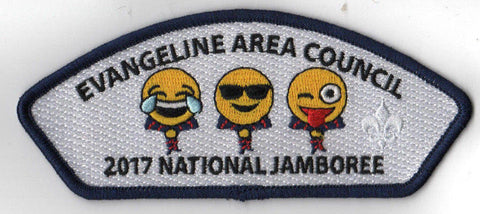 2017 National Scout Jamboree Evangeline JSP Emojis Laughing Tears Navy [C3171] - Scout Patch HQ