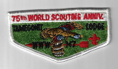 OA 147 Tamegonit S6 75th World Scouting Ann. Flap WHT Bdr. Heart of America MO [FBL-525]