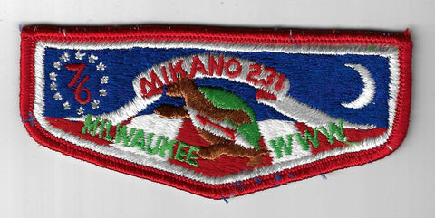OA 231 Mikano S2a 76 WWW Flap RED Bdr. Milwaukee County WI [FBL-773]