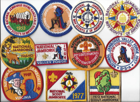 BSA 1935-1981 National Scout Jamboree Official Reproduction Set (felt patches nicked) [IL159]