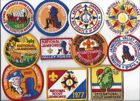 BSA 1935-1981 National Scout Jamboree Official Reproduction Set (felt patches moth hole) [IL160]