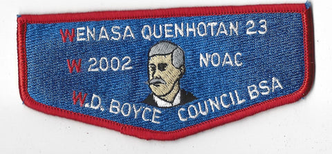 OA Lodge # 23 Wenasa Quenhotan 2002 NC Delegate Flap Red Border W. D. Boyce Council