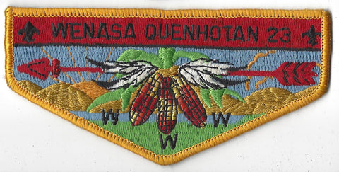 OA Lodge # 23 Wenasa Quenhotan Flap Yellow Border W. D. Boyce  [IL183]**