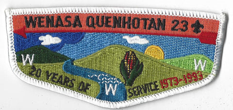 OA Lodge # 23 Wenasa Quenhotan Flap 20th Anniv. S16 White Border W. D. Boyce  [IL189]**