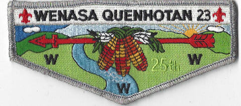 OA Lodge # 23 Wenasa Quenhotan Flap 25th Anniv.  SMY Border W. D. Boyce  [IL190]**