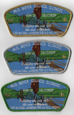 2001 National Scout Jamboree W. D. Boyce Council Set of 3 JSP Patch