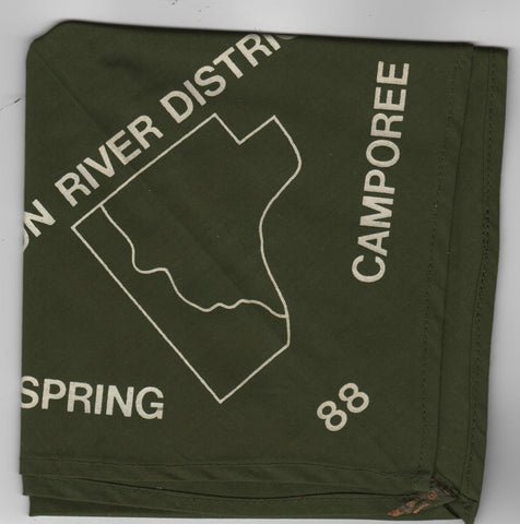 W. D. Boyce  1988 Spoon River District Spring Camporee Silk Screened Neckerchief [IL401]
