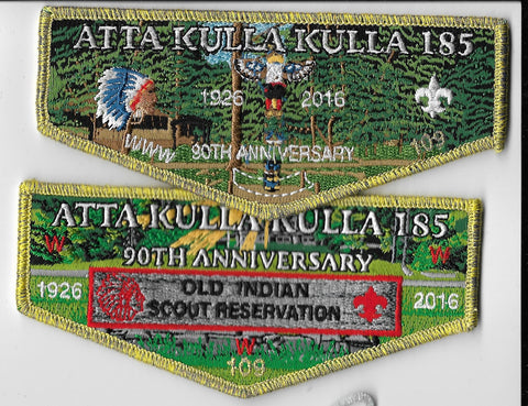 OA Lodge #185 Atta Kulla Kulla 2 flap set 90th Old Indian Scout Reservation [OAP1286]