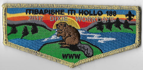 OA Lodge #188 Iti Bapishe Iti Hollo S-79 flap; 2012 Dixie Workdays [OAP1297]
