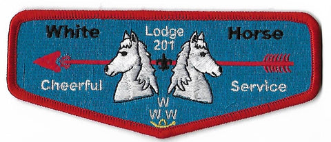 OA Lodge #201 White Horse S-35 flap; Cheerful Service [OAP1434]