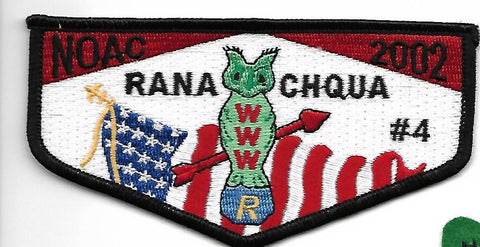 OA Lodge # 4 Ranachqua Greater New York, The Bronx  S-27 Flap; 2002 NOAC [OAP150]