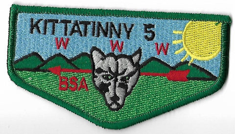 OA Lodge # 5 Kittatinny Hawk Mountain  S-9B Flap; LGR wolf; LYL sun; PB [OAP155]