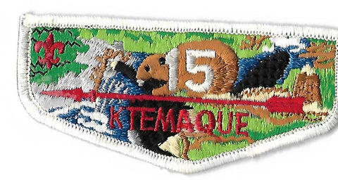 OA Lodge # 15 Ktemaque Westchester-Putnam  S-3 Flap; FDL; top of stump triangular; BRN beaver/logs/stump [OAP221]