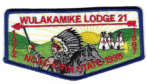OA Lodge # 21 Wulakamike Crossroads of America  S-16 flap; 1998 NOAC [OAP256]
