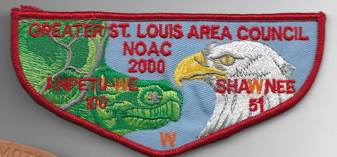 OA Lodge # 51 Shawnee Greater St. Louis Area  F-10 Flap; 2000 NOAC [OAP425]