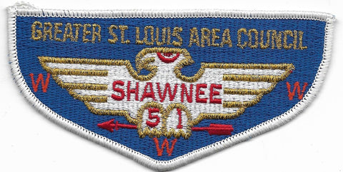 OA Lodge # 51 Shawnee Greater St. Louis Area  S-11a flap; W/ Greater St. Louis Area ; CB; MVE [OAP431]