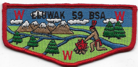OA Lodge # 59 Eluwak Long Rivers  S-5B flap; 54x111 mm; BLU sky; LGR grass; MVE [OAP460]