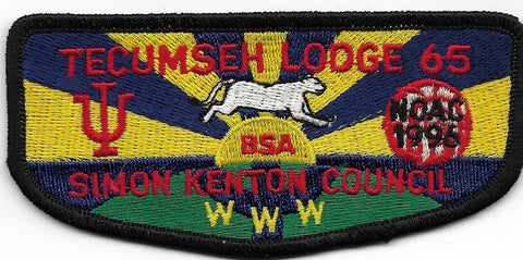 OA Lodge # 65 Tecumseh Simon Kenton  S-3 flap; 1996 NOAC [OAP487]