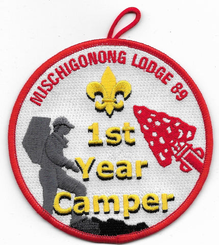 OA Lodge # 89 Mischigonong Lake Huron Area  R-9; 1st year Camper; red [OAP596]