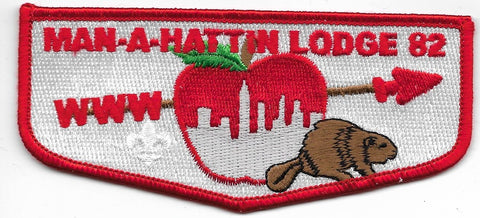 OA Lodge # 82 Man-A-Hattin Greater New York, Manhattan  s-?; red border [OAP710]