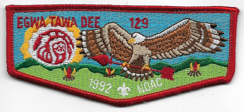 OA Lodge # 129 Egwa Tawa Dee Atlanta Area  S-12 flap; 1992 NOAC [OAP913]