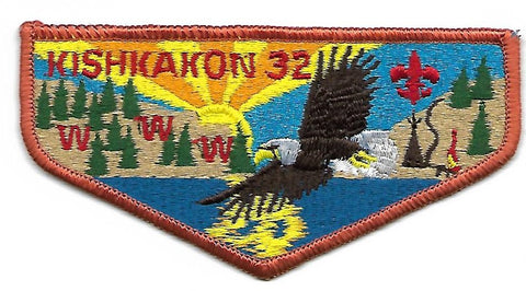 OA Lodge # 32 Kishkakon Trails West ; S-4a flap; eagle totem; CB; MVE size [OAP326]