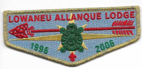 OA Lodge # 41 Lowaneu Allanque Three Fires  S26 flap; 2006; 10th Anniversary [OAP348]