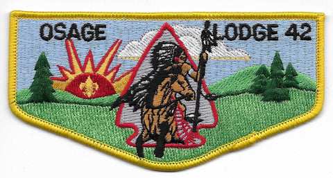 OA Lodge # 42 Osage Lodge Ozark Area  S-10 flap; Native American on horse [OAP351]