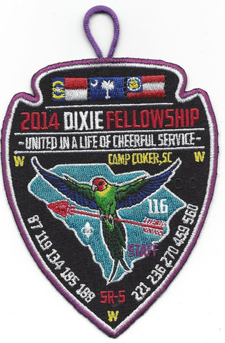 #116 Santee Lodge 2014 Dixie Fellowship Staff Patch (purple border) - Scout Patch HQ