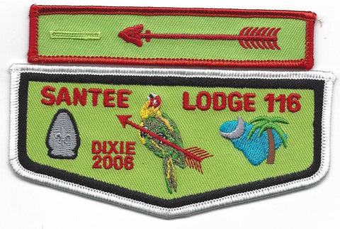 #116 Santee Lodge Flap F4 Dixie Limelight 2006 Issue with X8 Dangle - Scout Patch HQ