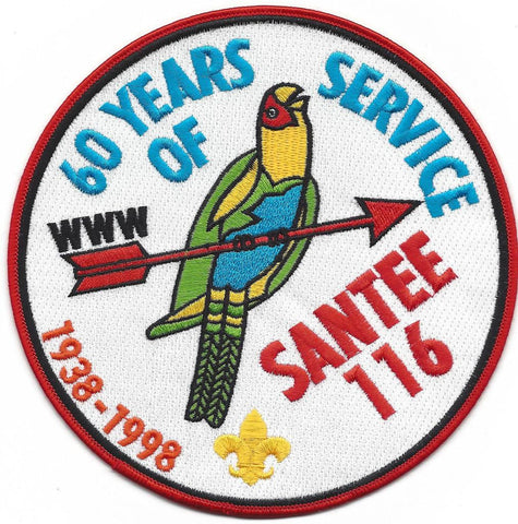 #116 Santee Lodge J3 60th Anniversary Jacket Patch 1998 Issue - Scout Patch HQ