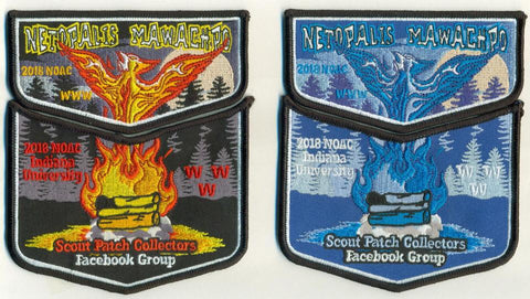 2018 NOAC Scout Patch Collectors Facebook Two Piece Fire & Ice Set