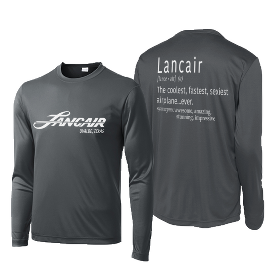 Lancair Explained Performance Long Sleeve Tee - Iron Grey