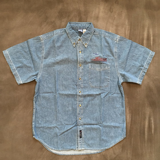 Men's Medium Denim Short Sleeve Buttonup - FLASH SALE