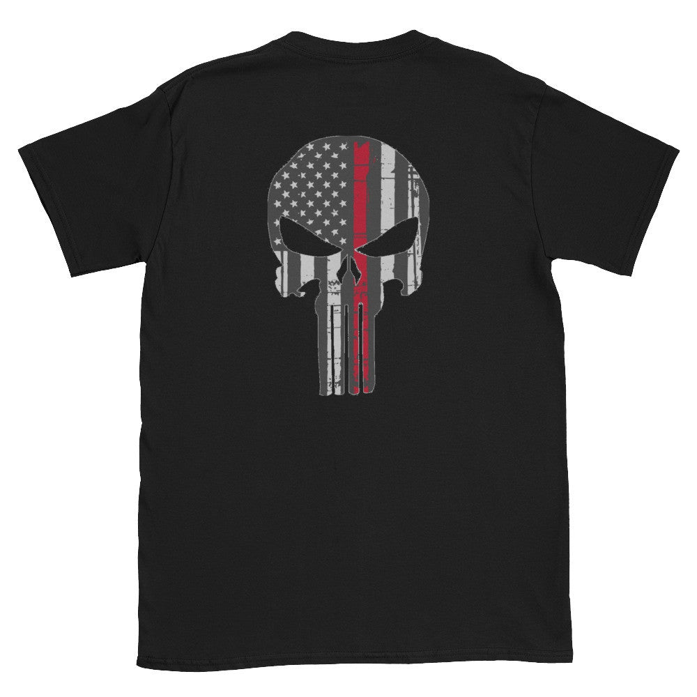 Thin Red line skull shirt USA veteran made