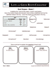 Latin and Greek Roots Challenge - Year 1 - Level 2 Student Workbook - Root Shapes