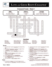Latin and Greek Roots Challenge - Year 1 - Level 3 Student Workbook - Crossword