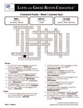 Latin and Greek Roots Challenge - Year 1 - Level 3 Teacher's Guide - Crossword