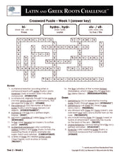 Latin and Greek Roots Challenge - Year 2 - Level 3 Teacher's Guide - Crossword