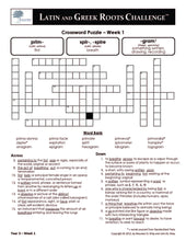 Latin and Greek Roots Challenge - Year 3 - Level 3 Student Workbook - Crossword