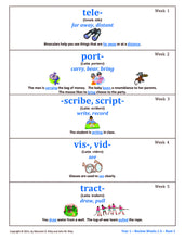 Visual Root Worksheets (Pad I) - Year 1   (used with Master and Classroom Boards)