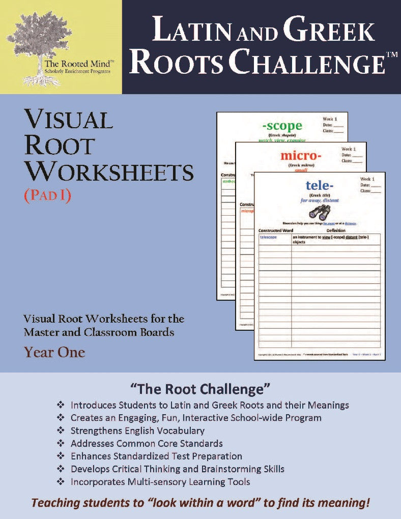 Latin and Greek Roots Challenge - Visual Root Worksheets (Pad I) - Year 1