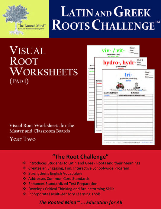 Latin and Greek Roots Challenge - Visual Root Worksheets (Pad I) - Year 2