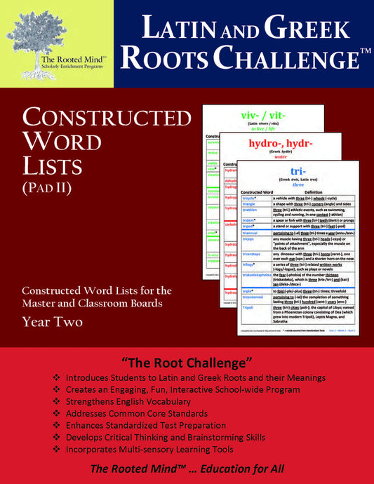 Latin and Greek Roots Challenge - Constructed Word Lists (Pad II) - Year 2