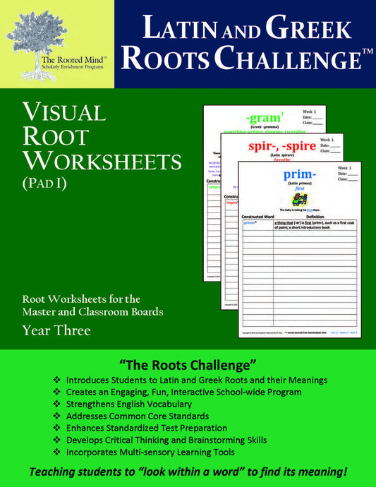 Latin and Greek Roots Challenge - Visual Root Worksheets (Pad I) - Year 3