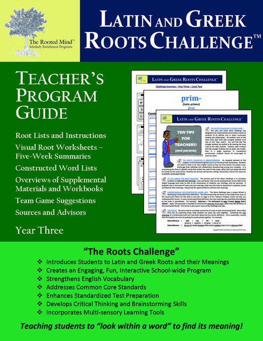 Latin and Greek Roots Challenge - Teacher's Program Guide - Year 3