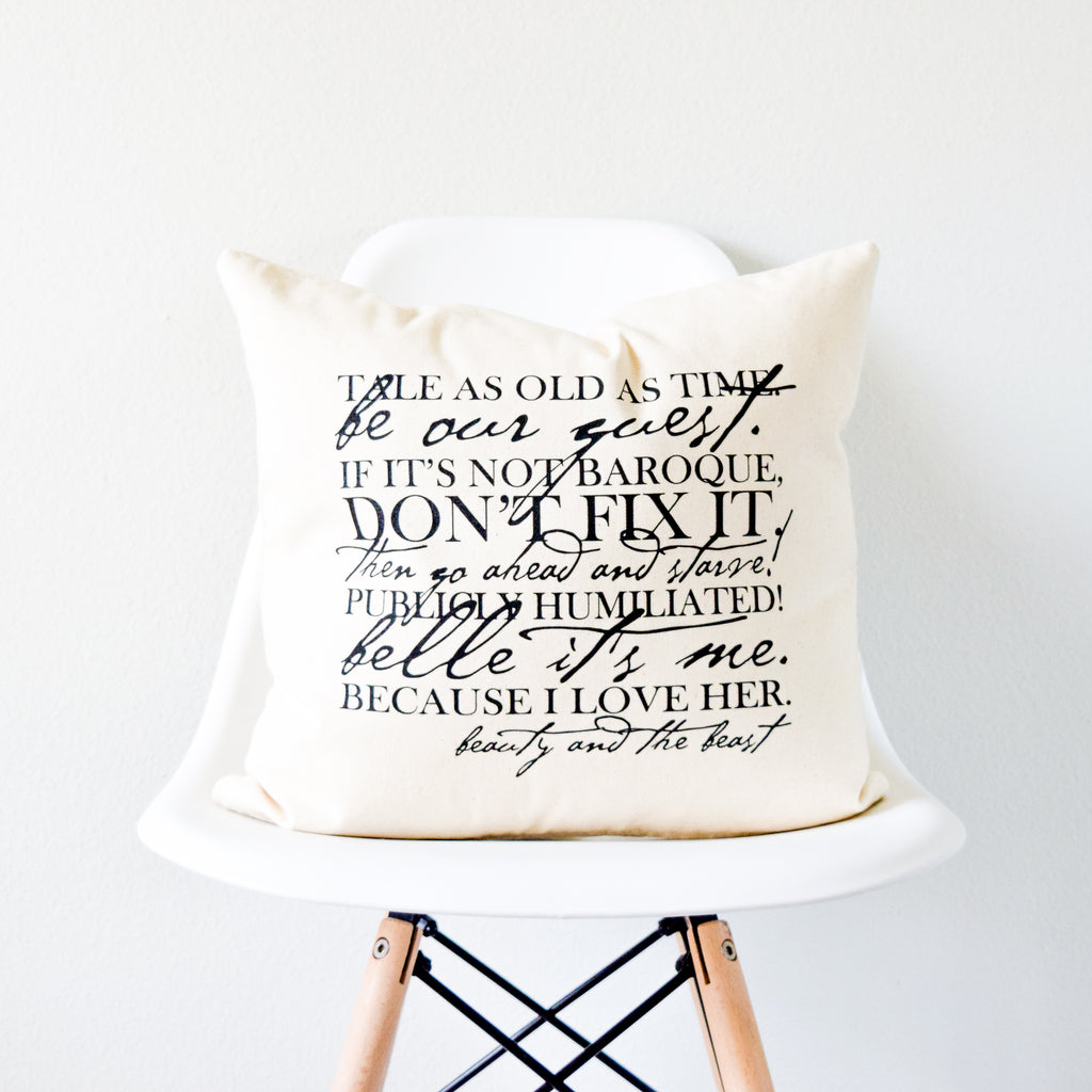 Beauty and the Beast Favorite Lines Pillow