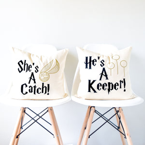 "Harry Potter Pillow Set - ""She's A Catch/He's A Keeper"" Quidditch"
