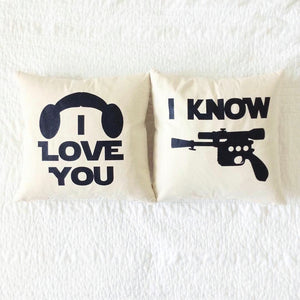 "Star Wars ""I Love You/I Know"" Pillow Set - Han Solo, Princess Leia, Wedding, Anniversary, Gift for Her, Gift for Him, Star Wars Gift"